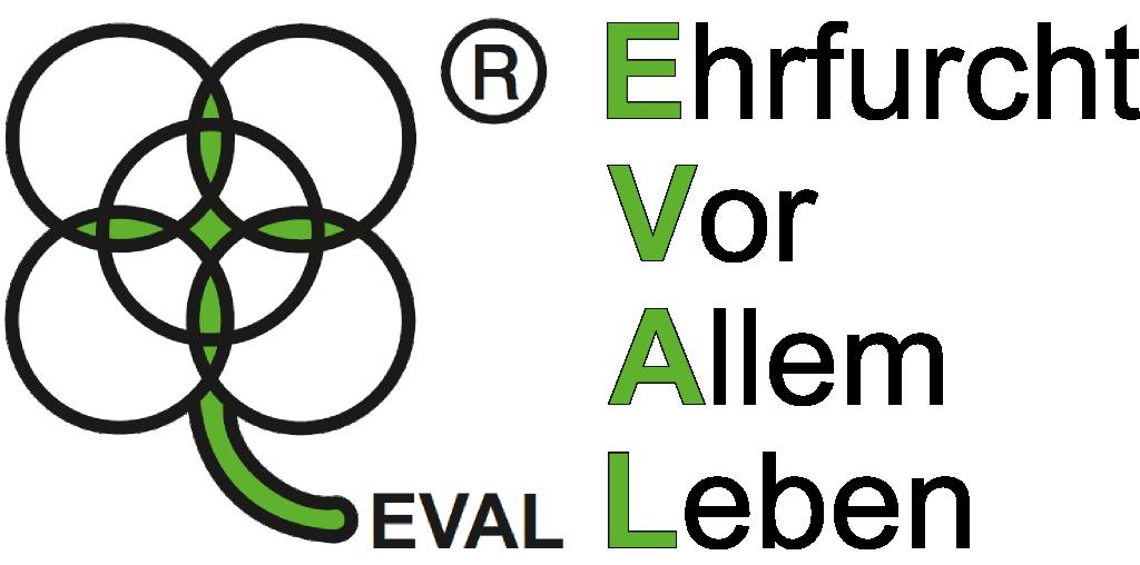 EVAL Logo mit EVAL-Schriftzug Ehrfurcht Vor Allem Leben